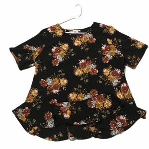 TIME AND TRU BLACK AND FLORAL BLOUSE SIZE XXL/20